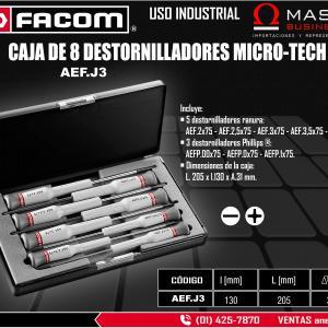 CAJA DE 8 DESTORNILLADORES MICRO-TECH