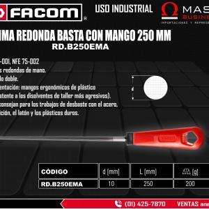 LIMA REDONDA BASTA CON MANGO 250 MM