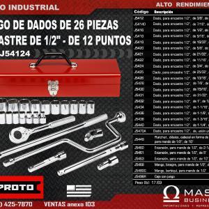 JGO. DADOS 1/2 26 PZ PUL 3/8 A 1-1/4 C/MALETA METALICA 12 PT