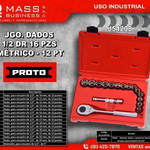 JGO. DADOS 1/2 MM 16 PZS EN ESTUCHE - 12 PT