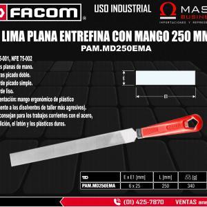 LIMA PLANA ENTREFINA CON MANGO 250 MM