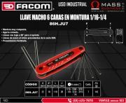 LLAVE MACHO 6 CARAS EN MONTURA 1/16-1/4