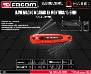 LLAVE MACHO 6 CARAS EN MONTURA 15-6MM
